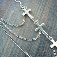ONE triple cross chained ear cuff ONE cross  earrings in boho gypsy hippie hipster goth and rocker style