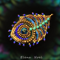 peacock feather brooch - embroidered beaded brooch with Swarovski crystal