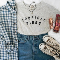 TROPICAL VIBES Cotton Hipster Shirt