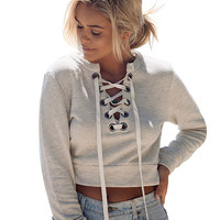 Gray Lace Up Front Cropped Sweatshirt