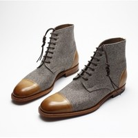 Zonkey Boot - Zonkey Boot two-tone boots from burnished calf leather and wool