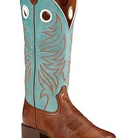 Ariat Round Up Ryder Women's Wood Brown with Sky Blue Double Welt Square Toe Western Boots