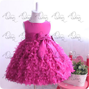 Toddlers Kids Girls Pettiskirt Party Dress Flower Clusters Bow Fluffy Dress 1-6Y NW
