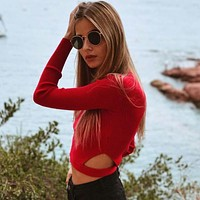 Women Simple Fashion Solid Color Irregular Hollow Bodycon Long Sleeve Knit Sweater Crop Tops