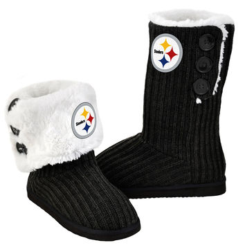 Pittsburgh Steelers Official NFL Ladies Knit High End Button Boot Slippers