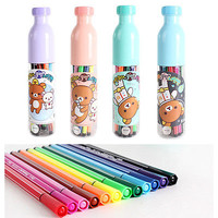 RILAKKUMA Cute Animal Bear 12 Color Marker Pen Sign Pen Set Stationery FREE SHIP