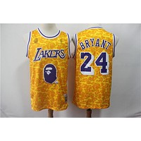 Bape x NBA Los Angeles Lakers 24 Kobe Bryant Mitchell & Ness Gold Hardwood Classics Jerseys