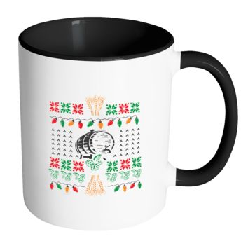Classic Ugly Holiday Chritmas sweater For Craft Brewers & Homebrewers Beer Lover Brewmaster 11oz Accent Coffee Mug (7 Colors)