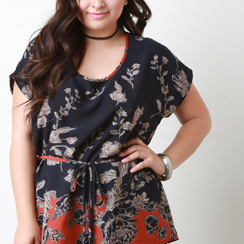 Two Tone Sketched Floral Print Tunic