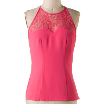 The Sweetest Thing Lace Panel Top - Watermelon