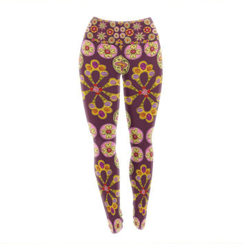 """Jane Smith """"Indian Jewelry Floral"""" Purple Gold Yoga Leggings"""