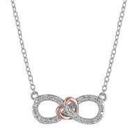 1/10 Carat T.W. Diamond Two Tone Sterling Silver Infinity Heart Necklace (Pink/Silver)