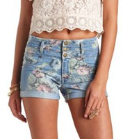 Floral Print High-Waisted Denim Shorts by Charlotte Russe - Multi