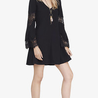 Black Lace Inset Trapeze Dress from EXPRESS