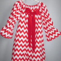 Girls Red Chevron Valentine Dress with Bow 3 6 12 18 24 2T 3T 4T 5/6 7/8