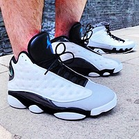 Inseva Air Jordan 13 men's and women's sports basketball shoes white+black