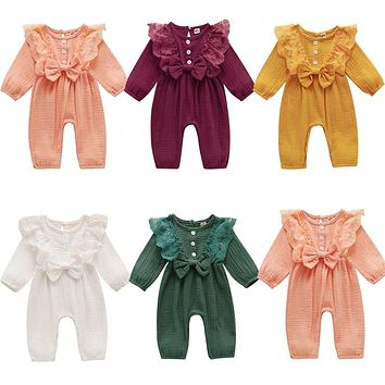 Infant Newborn Baby Girls Long Sleeve Lace Jumpsuit Baby Girl Romper Lace Clothes One Piece Bodysuit Fall Winter Onesuits