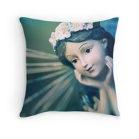 """Green Fairy Pillow Cover - Fantasy Photography Cushion, Blue, Teal, Angel Wings, Cute, Dreamy Home Decor, """"Daydreamer"""""""