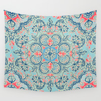 Gypsy Floral in Red & Blue Wall Tapestry by Micklyn