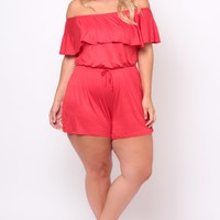 Plus Size Off The Shoulder Ruffle Romper - Red