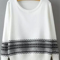 White Arkwork Jacquard Sweater