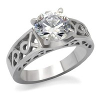 Celtic Round Solitaire CZ Stainless Steel Engagement Ring