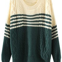 Two-Tone Striped Cable Sweater