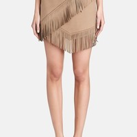 Women's 1.STATE Fringe Trim Faux Suede Wrap Skirt,