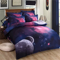 4/3pcs Galaxy 3D Bedding Sets Universe Outer Space Duvet cover Bed Sheet / Fitted Bed Sheet pillowcase Twin queen king