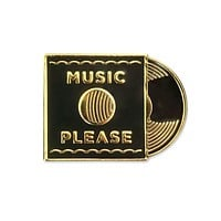 Music Please Lapel Pin in Gray and Gold