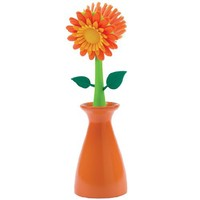 Boston Warehouse Flower Kitchen Brush with Holder, Orange