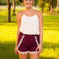 Ready For The Win Shorts-Maroon - NEW ARRIVALS