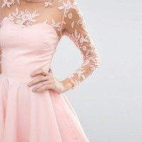 City Goddess Skater Dress With Lace Sleeves at asos.com