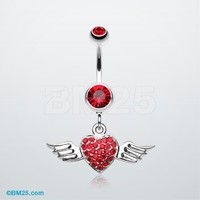 Angel Luster Heart Belly Button Ring