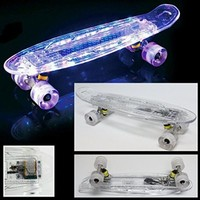 """22"""" LED Lights Skateboard Clear Wheels with Rechargable USB Cable - Free Shipping with Same Day Handling"""