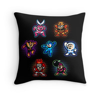 'Megaman 1 Robots' Throw Pillow by likelikes