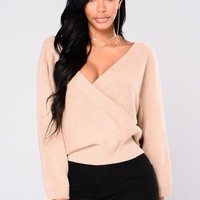 Anne Marie Sweater Top - Taupe