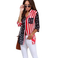 Navy Stars And Stripes Blouse