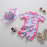 Baby Girls Flamingos Swimsuit +cap Hat Flamingo Swimming Suits Toddler Baby Sunscreen UV Miraculous Ladybug Surfing Suit 12M-7T