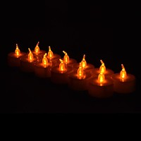 LED Battery Operated Flameless Tea Light Candles - Amber / Orange (12 Pack)