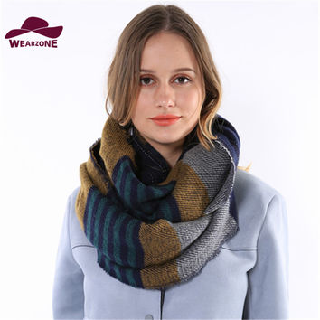 Striped Pattern Ring Scarf Shawls - 3 Colors