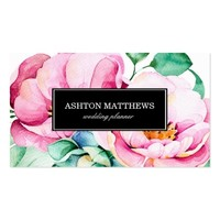 Elegant Pink Watercolor Flowers Business Card
