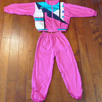 Vintage 80's Authentic Colorblock Tracksuit - Windbreaker + Matching Track Pants