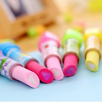Novelty Lipstick Rubber Pencil Eraser School Office Stationery Students Gift New School Supplies