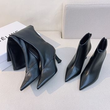 CELINE Fashion Women's Leather Ankle boot