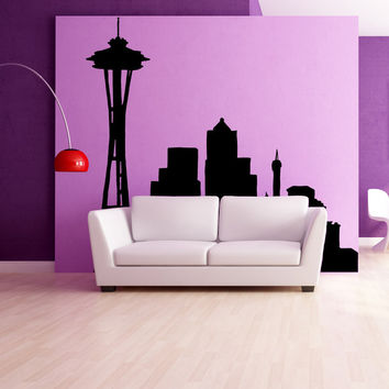 Vinyl Wall Decal Sticker Seattle Silhouette #OS_MB636