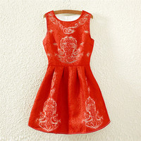 Red Gold Thread Print Crew Neck Sleeveless Skater Dress