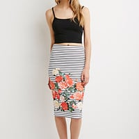 Striped Floral Pencil Skirt