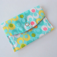 Womens card wallet, girls business card wallets, retro mod gift card holder, small coin purse, burgundy yellow teal white