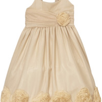 (Sale) Champagne Tulle Overlay Dress with Large Dimensional Mesh Flowers at the Hem (Girls 2T - Size 12)